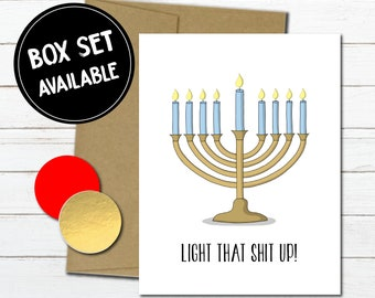 Funny Hanukkah Gift For Friend Holiday Card Getting Lit Drinking Jewish Celebration Manorahs Him