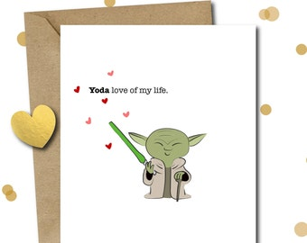 Anniversary card Star Wars, anniversary gifts for boyfriend, gifts for men, card for husband, card for him, Yoda, star wars love card