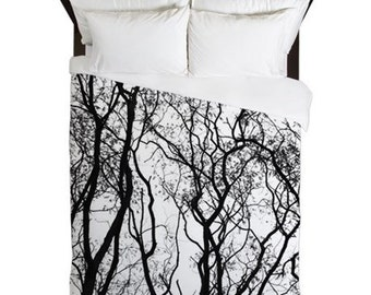 Rustic Bedroom Decor, Tree Duvet Cover, Woodland Decor, Black and White, Cabin Bedding, Lake House, Tree Decor, Gift for Him, Housewarming