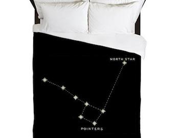 Duvet Cover, Astronomy, Big Dipper Little Dipper, North Star, Constellation Print, Stars, Black Duvet, Housewarming Gifts, Astronomy Gifts