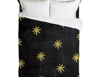 Duvet Cover, Gold, Stars, Rustic Bedroom Decor, Cottage Chic, Country Home Decor, Cabin Bedding, Black, Duvet Cover King, Queen, Twin