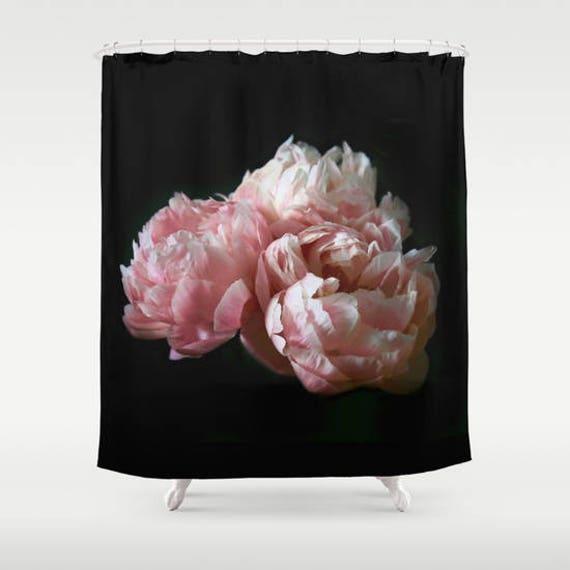 Shabby Chic Shower Curtain Pink Peony Boho