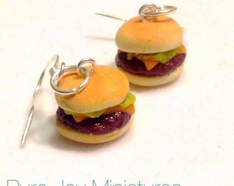Cheeseburger Earrings - Polymer clay