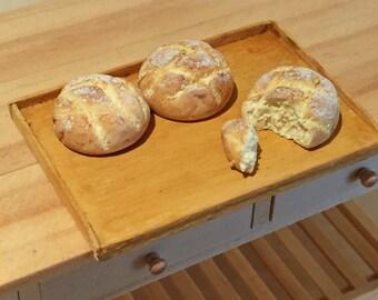 Dollhouse Miniature Food - Miniature polymer clay sourdough bread dusted with flour