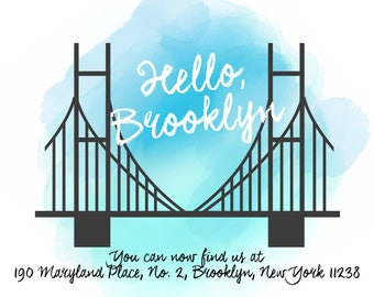 Moving to Brooklyn postcard, new address postcards for NYC
