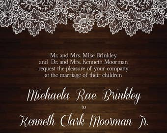 Rustic wood and lace wedding invitation set