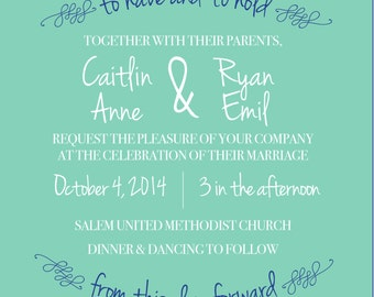 Square modern wedding invitation set