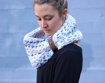 Heather White/Grey - CHUNKY WOOL Large Cowl Scarf