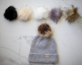 NEW* Light Grey - Merino Wool POM Beanie