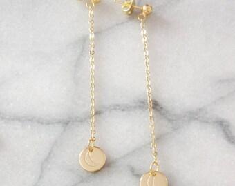 Moonlight Earrings - Gold Moon Earrings - Moon Earrings - Crescent Moon Earrings - Moon Threader Earrings - Moon Charm Earrings