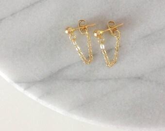 The Bare Earrings - Gold Chain Earrings - Gold Stud Earrings - Gold Chain Stud Earrings - Gold Dangle Earrings - Gold Chain Dangle Earrings