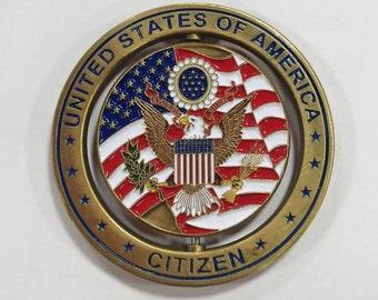 US Citizen Spinning Challenge Coin
