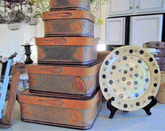 Vintage Paper Covered Storage Boxes Hand Painted Folk Art SET OF FIVE