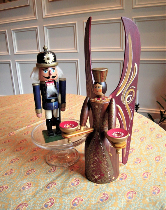 image 0 image 1 image 2 image 3 image 4 image 5 image 6 image 7 Vintage German Nutcracker and Berchtesgaden Angel Candle Holder