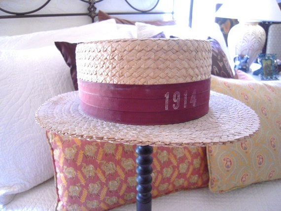 Antique Man's Straw Boater Hat Dated 1914