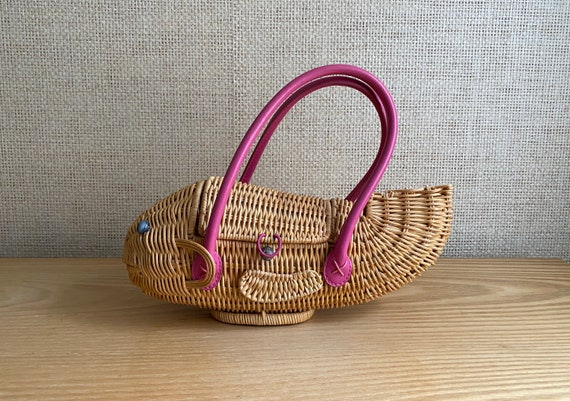 Vintage Whimsical Wicker Basket Fish Purse by Capp