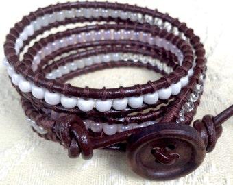 Brown Leather Beaded Wrap Bracelet