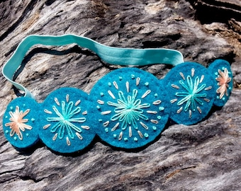 Hand Embroidered Felt Headband in Turquoise
