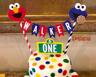 Elmo & Cookie Monster Cake Bunting Topper with Mini Sesame Street Sign - Smash Cake - Sesame Street Party - Red Blue Yellow Green