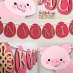 Year of the Pig - Red Egg and Ginger Party - Personalized Custom Name Banner –  Cute Pink Pig - Red and Gold