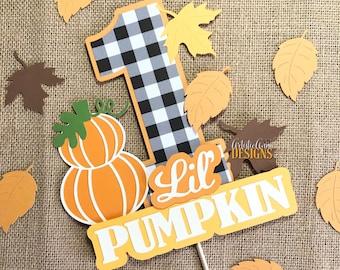 Lil' Pumpkin Buffalo Plaid Cake Topper - Smash Cake - Pumpkin Themed Birthday - Fall Birthday Decorations -  Orange, Brown, Green, Yellow