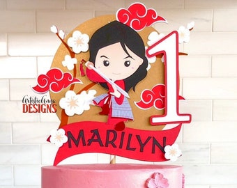 Mulan Cake Topper - Warrior Princess Decorations - Personalized Cake Topper - Red Gold Black