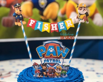 Paw Patrol Boy Cake Bunting Topper - (2pc set) Paw Patrol Themed Birthday - Dog Party Decorations - Red Yellow Blue