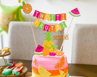 TWO-tti Frutti Cake Bunting Topper with Fruit Cake Topper- (2 pc set) Tutti Frutti Birthday Smash Cake - Pink, Orange, Yellow, Lime Green