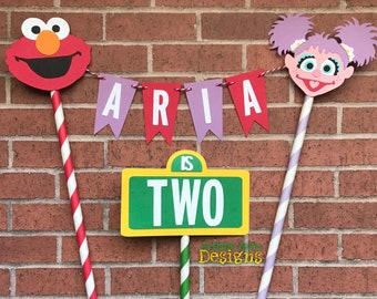 Elmo & Abby Cake Bunting Topper with Mini Sesame Street Sign - Smash Cake - Sesame Street Party - Red Lavender Yellow Green