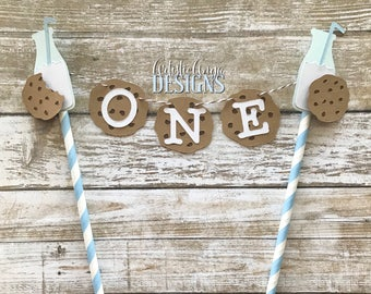 Milk and Cookies Boy Birthday Age Cake Bunting Topper - Smash Cake - Milk & Cookies Party -  Baby Blue White Brown