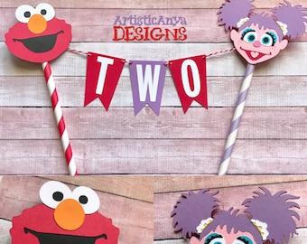 Elmo  & Abby Birthday Age Cake Bunting Topper - Smash Cake - Sesame Street Party - Red Orange Lavender Pink