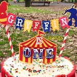 Circus Cake Bunting Topper with Mini Circus Tent Cake Topper- Circus Carnival 1st Birthday Smash Cake - Red Blue Yellow