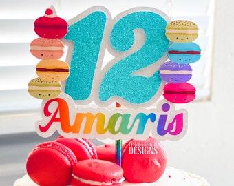 Macaron Rainbow Cake Topper - Rainbow Party Decorations - Kawaii Macarons