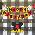 Mickey Mouse Happy Birthday Cake Bunting & Name Age Cake Topper (2 pc set) - Mickey Mouse Clubhouse - Red Yellow Black