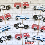 First Responder Cupcake Toppers (Set of 12) - Police Fire Medic Party Decorations - Red White Blue