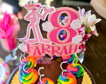 Pink Panther Glitter Cake Topper - Party Decorations - Pink Paw Prints