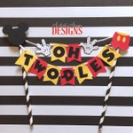 Mickey Mouse Birthday Age Cake Bunting Topper - Oh Two-dles Smash Cake - Mickey Mouse Clubhouse Party - Red Yellow Black White Decorations