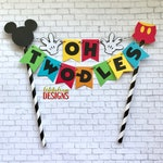 Mickey Mouse Clubhouse Birthday Cake Bunting Topper - Oh Two-dles Cake - Mickey Mouse Party - Red Yellow Orange Blue Green Black White