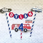 First Responder Cake Bunting Topper and Mini Age Fire Truck Cake Topper (2 pc set) - Police Fire Rescue - Red, Blue, Black