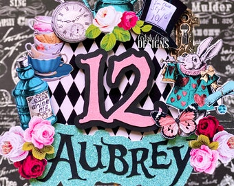 Vintage Alice in Wonderland Cake Topper - Alice in Wonderland Decorations - Personalized Cake Topper