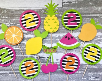 TWO-tti Frutti Cupcake Toppers - Set of 12 - Modern Tutti Frutti Birthday  - Pink, Orange, Yellow, Lime Green, Black and White Stripes