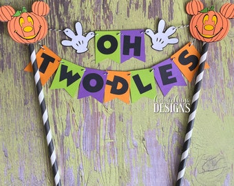 Pumpkin Mickey Mouse Birthday Age Cake Bunting Topper - Oh Two-dles Smash Cake - Halloween Party - Orange, Black, Lime Green, Purple