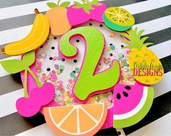 Tutti Frutti Shaker Cake Topper - TWO-tti Frutti Party Decorations - Glitter Age - Confetti Shaker Cake Topper