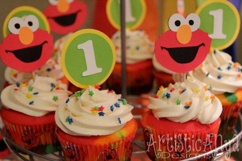 Elmo Sesame Street Birthday Cupcake Toppers Set Of 12 1st