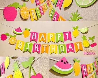 Tutti Frutti Happy Birthday Banner - Two-tti Frutti Birthday Party - Colorful Fruit