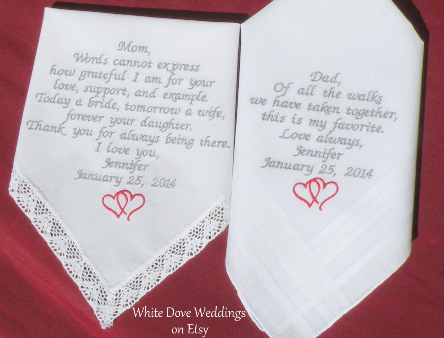 Wedding Gift Embroidered Wedding Hankerchief Mother Father Of Etsy
