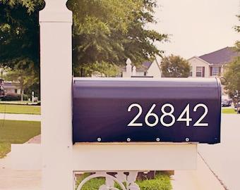 Modern Mailbox Number Decal, Custom Mailbox Sticker - 004