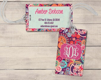Retro Floral Luggage Tag, Personalized Luggage Tag, Monogram Luggage Tag, Custom Luggage Tag, Flower Luggage Tag