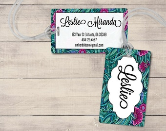 Teal and Purple Luggage Tag, Personalized Luggage Tag, Monogram Luggage Tag, Custom  Luggage Tag, Jungle Luggage Tag