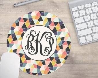 Blue and Grey Geometric Mouse Pad, Personalized Mouse Pad, Custom Mouse Pad, Personalized for Teenage Girls (0021)